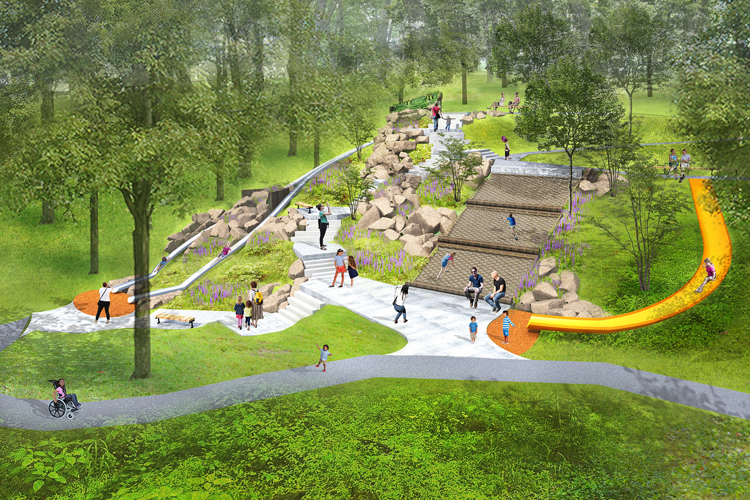 Concept image of the Mammoth Park Giant Slide.
